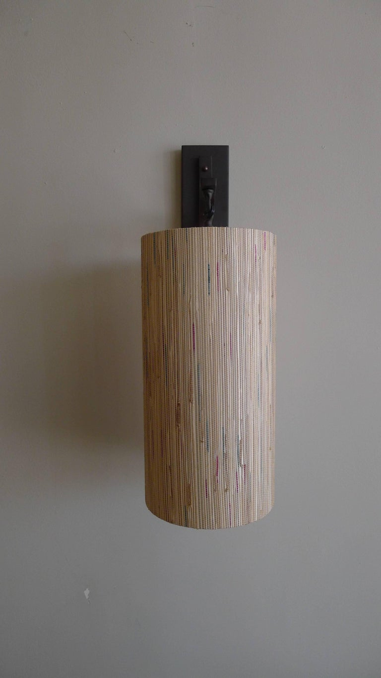 Metal Modern Sconce with Custom Grasscloth Shade by Paul Marra For Sale
