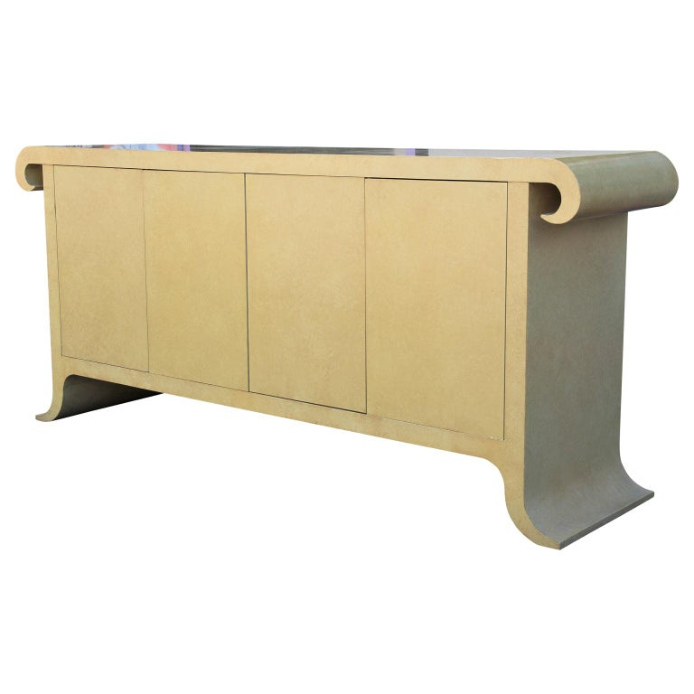 American Modern Scroll Top Cream Sideboard or Credenza in the Style of Karl Springer For Sale