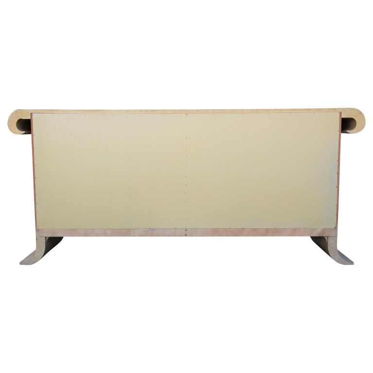 Modern Scroll Top Cream Sideboard or Credenza in the Style of Karl Springer For Sale 2