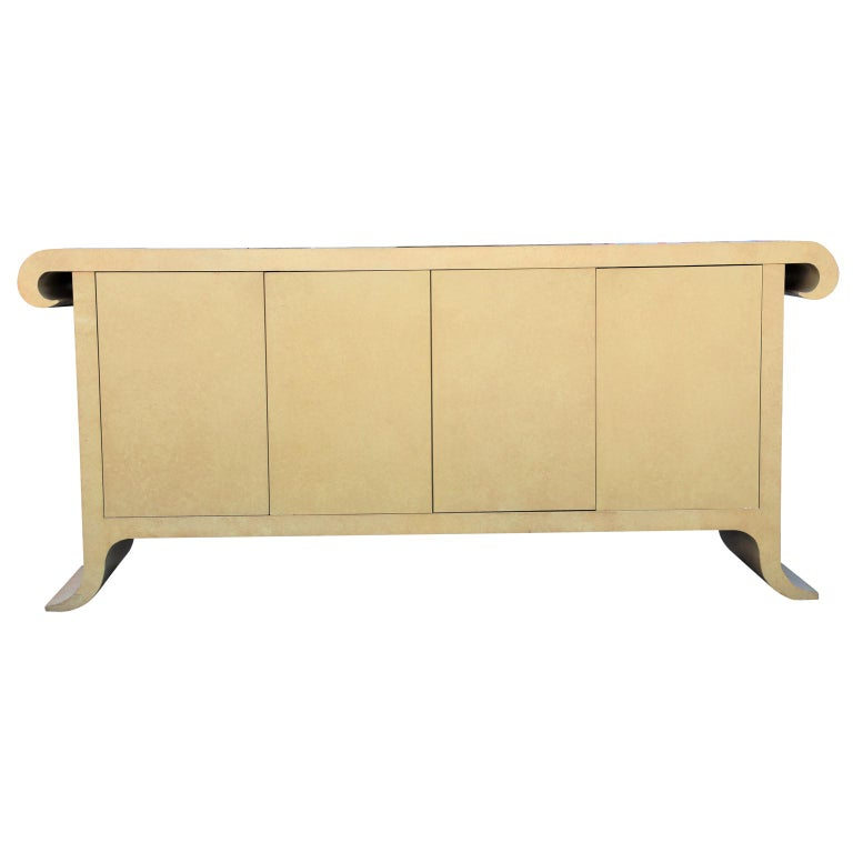 Modern Scroll Top Cream Sideboard or Credenza in the Style of Karl Springer For Sale