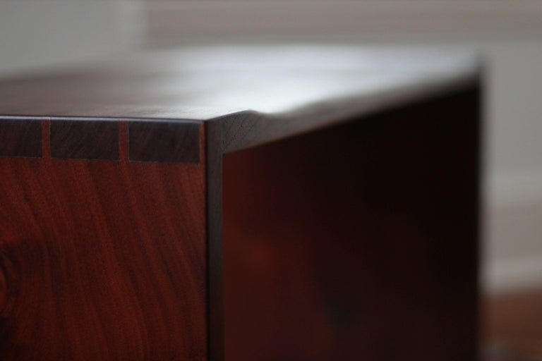 American Modern Sculpted Walnut Bench with Dovetail Joinery For Sale