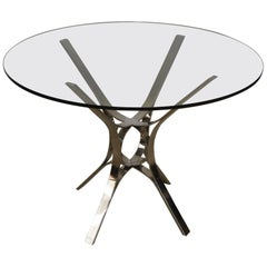 Modern Sculptural Chrome and Glass Round Table by Roger Sprunger for Dunbar
