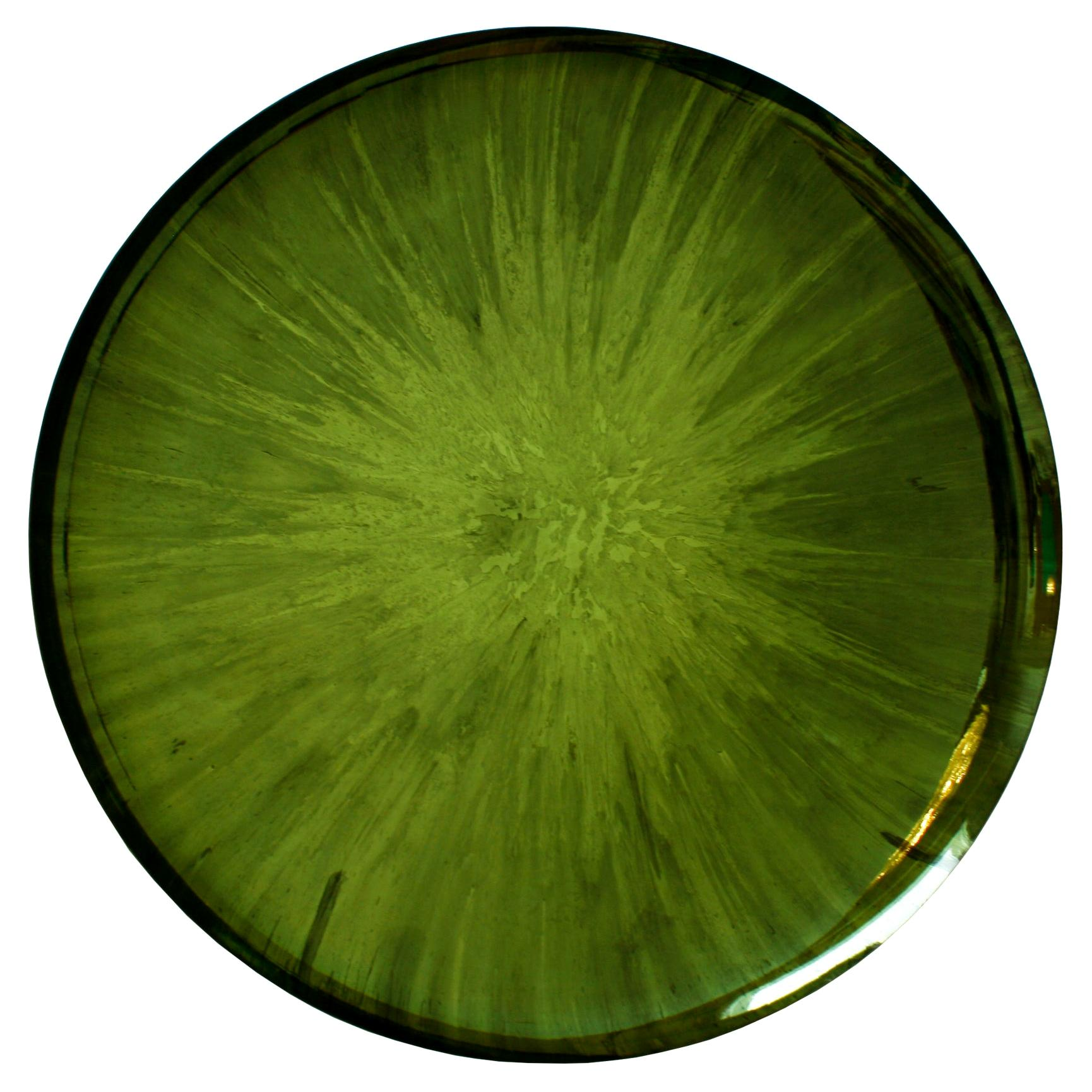 Modern Sculptural Concave Green Glass French Mirror