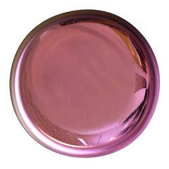 Modern Sculptural Concave Pink Glass French Mirror