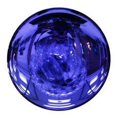 Modern Sculptural Concave Purple Glass French Mirror