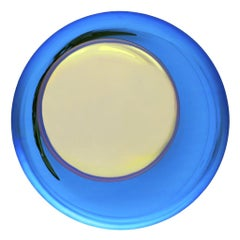 Modern Sculptural Concave Yellow and Blue Handmade Glass French Mirror