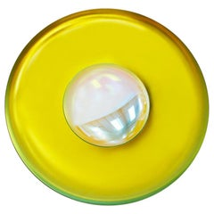 Modern Sculptural Concave Yellow Glass French Mirror