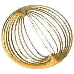 Modern Sculptural Golden Brass Rocking Bowl, Eight Mood, Sweden