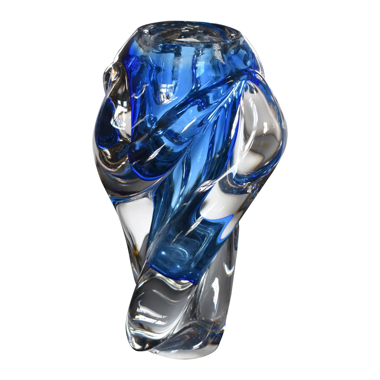 Modern Sculptural Hand Blown Murano Art Glass Flower Vase