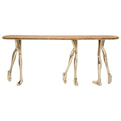 Modern Sculptural Monroe Console Table, Polished Brass, Yellow Travertine Marble