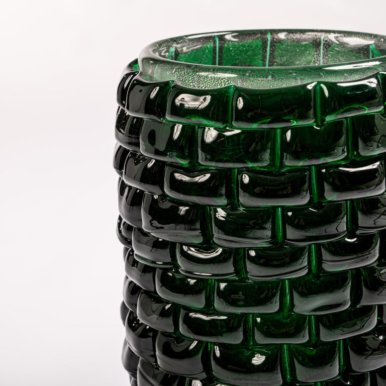 Hand-Crafted Modern Sculptural Murano Glass Vase in Bottle Green Color, Signed Cendese