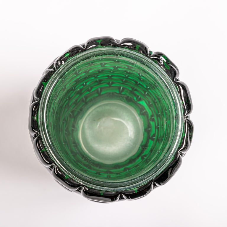 Modern Sculptural Murano Glass Vase in Bottle Green Color, Signed Cendese In Good Condition In Salzburg, AT