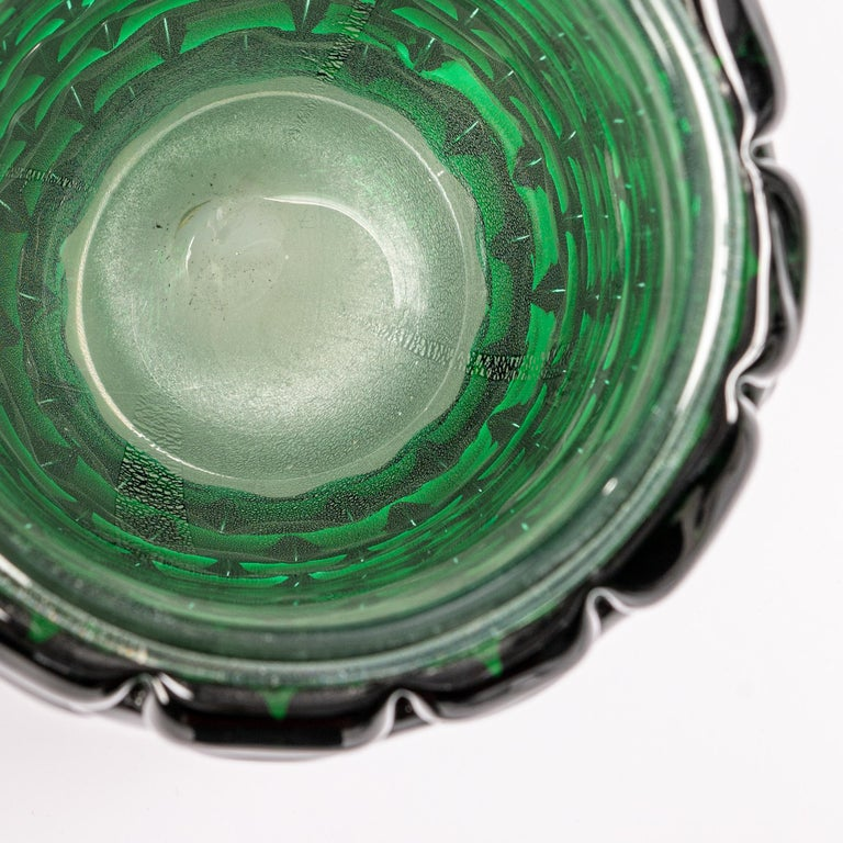 Contemporary Modern Sculptural Murano Glass Vase in Bottle Green Color, Signed Cendese