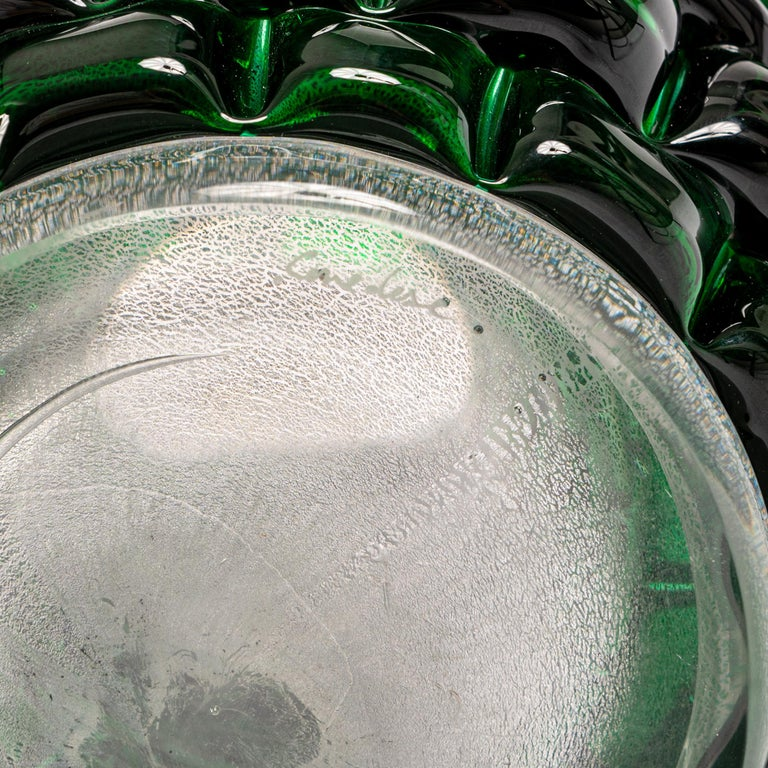 Modern Sculptural Murano Glass Vase in Bottle Green Color, Signed Cendese 1