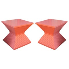 Modern Sculptural Pair of Coral Lacquered Pyramid Side Tables