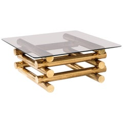 Modern Sculptural Stacked Brass and Smoked Glass Coffee Table, 1970s