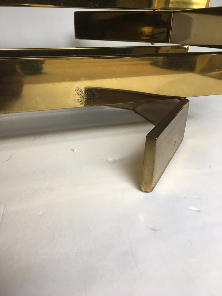 Modern Sculptural Stacked Metal Brass and Glass Octagon Coffee Table, 1970s 5