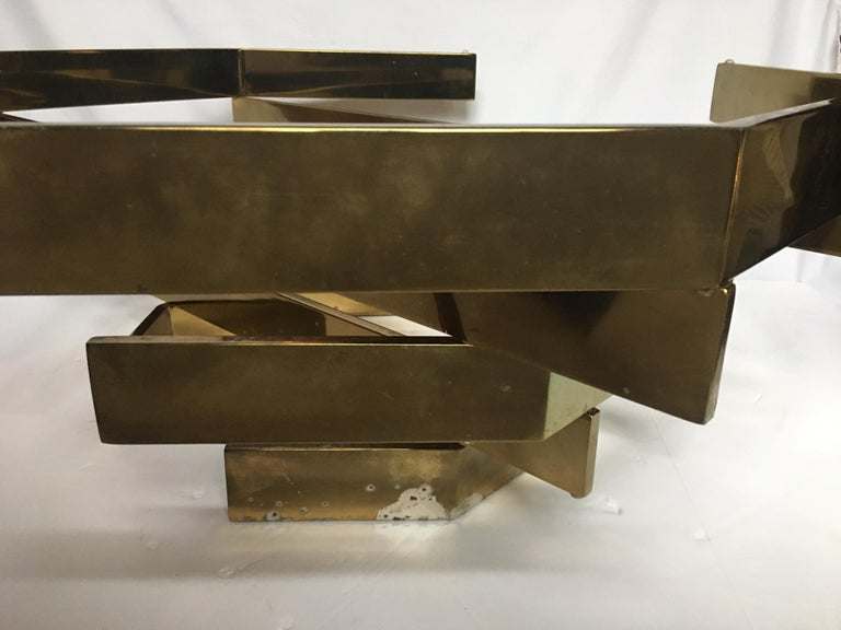 Modern Sculptural Stacked Metal Brass and Glass Octagon Coffee Table, 1970s 6