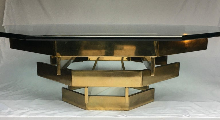 Mid-Century Modern Modern Sculptural Stacked Metal Brass and Glass Octagon Coffee Table, 1970s