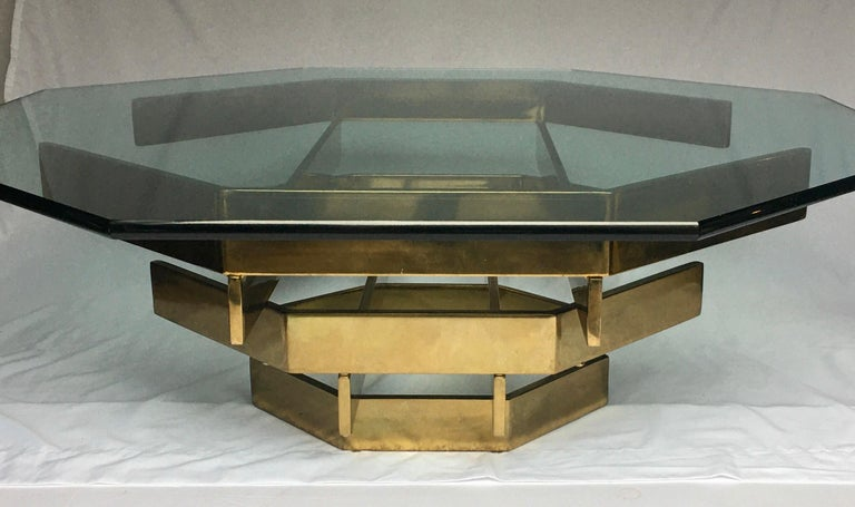 Modern Sculptural Stacked Metal Brass and Glass Octagon Coffee Table, 1970s In Good Condition In Lambertville, NJ