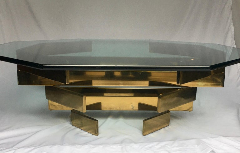 Late 20th Century Modern Sculptural Stacked Metal Brass and Glass Octagon Coffee Table, 1970s