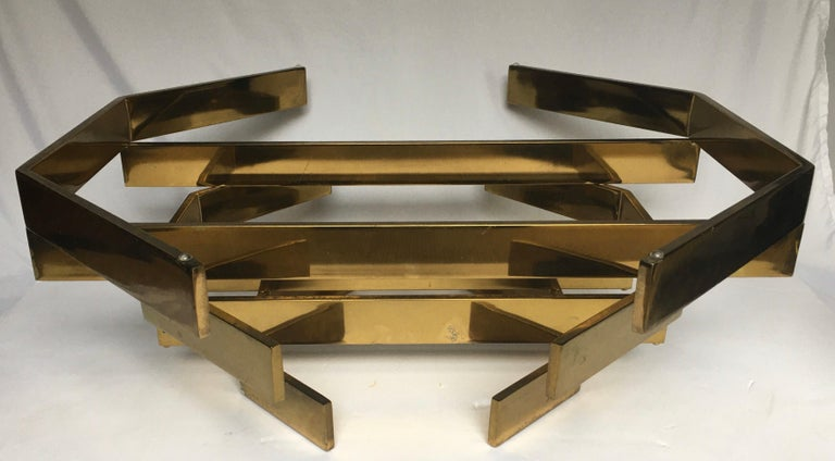 Modern Sculptural Stacked Metal Brass and Glass Octagon Coffee Table, 1970s 2