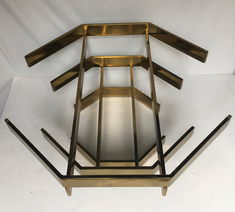 Modern Sculptural Stacked Metal Brass and Glass Octagon Coffee Table, 1970s 3