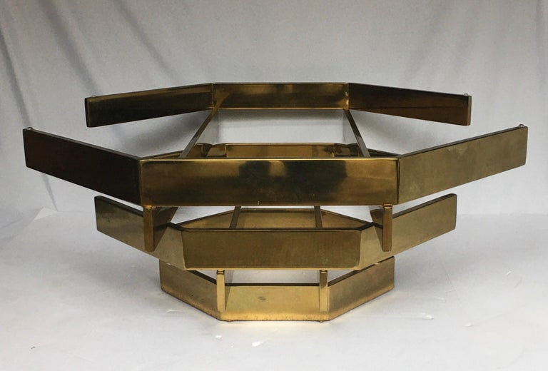 Modern Sculptural Stacked Metal Brass and Glass Octagon Coffee Table, 1970s 4