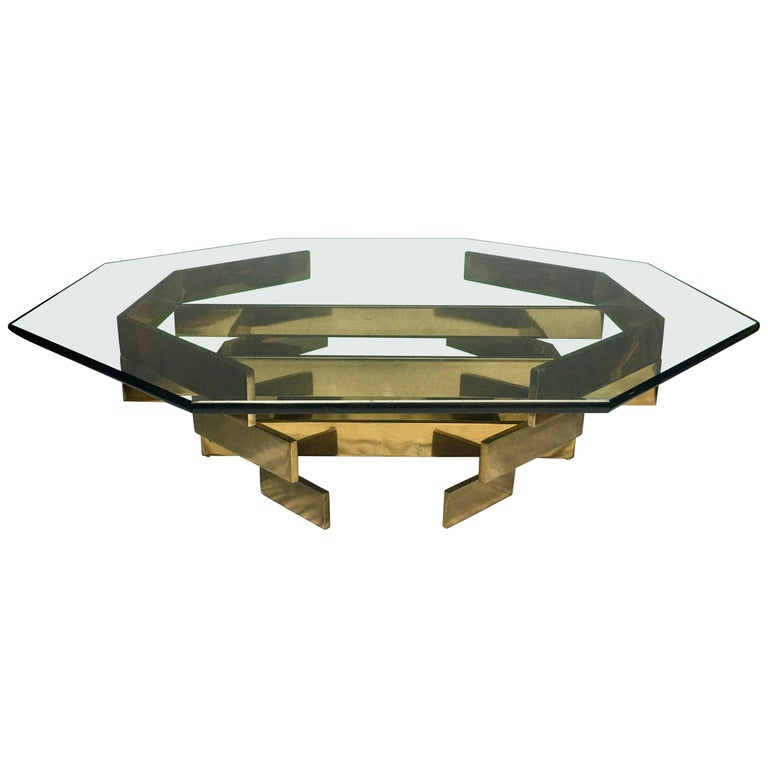 Modern Sculptural Stacked Metal Brass and Glass Octagon Coffee Table, 1970s