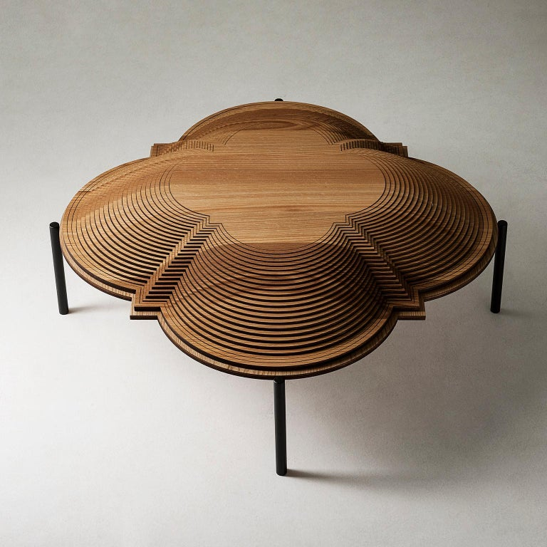 This magnificent sculptural coffee table will add a mesmerizing architectural decoration in a modern interior while serving as a textural accent in a room. Crafted entirely of wood using an innovative method that creates a three-dimensional effect.
