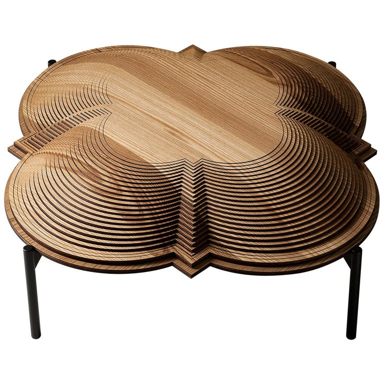 """Modern Sculptural Wood Coffee Table """"Dome 1"""" by Sebastiano Bottos, Italy For Sale"""