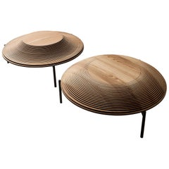 "Modern Sculptural Wood Coffee Table ""Dome 2 and 3"" by Sebastiano Bottos, Italy"