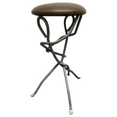 Modern Sculptural Wrought Iron Stool