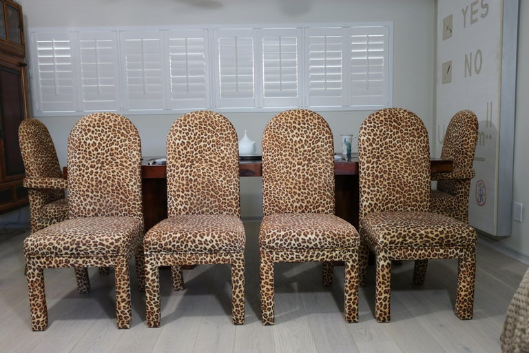 American Mid-Century Modern Set of 6 Faux Leopard Dining Chairs 4 Armless / 2-Arm For Sale