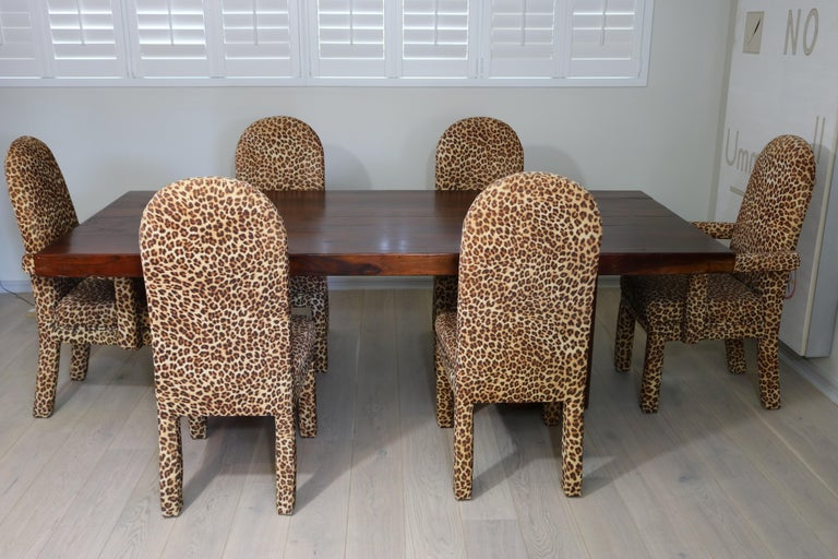 20th Century Mid-Century Modern Set of 6 Faux Leopard Dining Chairs 4 Armless / 2-Arm For Sale