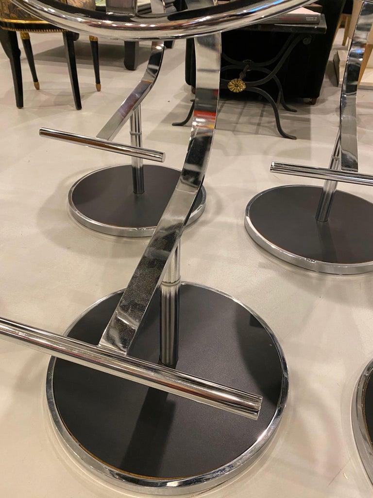 Modern Set of Five Chrome Bar Stools For Sale 4