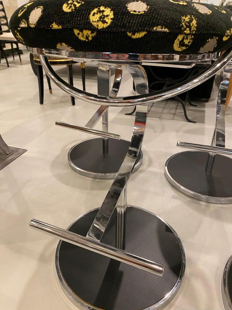 Modern Set of Five Chrome Bar Stools For Sale 5