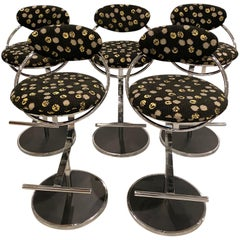Modern Set of Five Chrome Bar Stools
