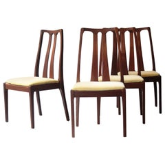 Modern Set of Four Teak Yellow Velvet Chairs, United Kingdom, 1970