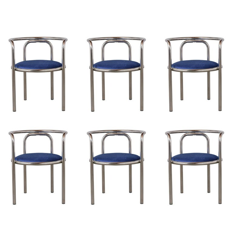 Set of Modern Barrel Back Chairs For Sale