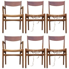 Modern Set of Six Bruno Mathsson Dining Chairs with Rope Seats
