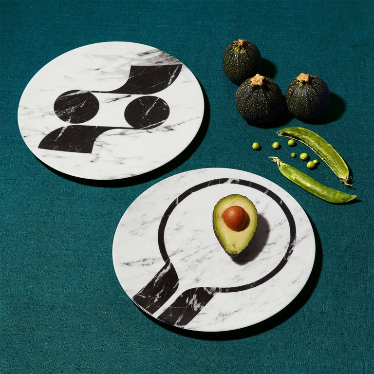 Contemporary Modern Set of Six Porcelain Plates in Black and White by Etienne Bardelli For Sale