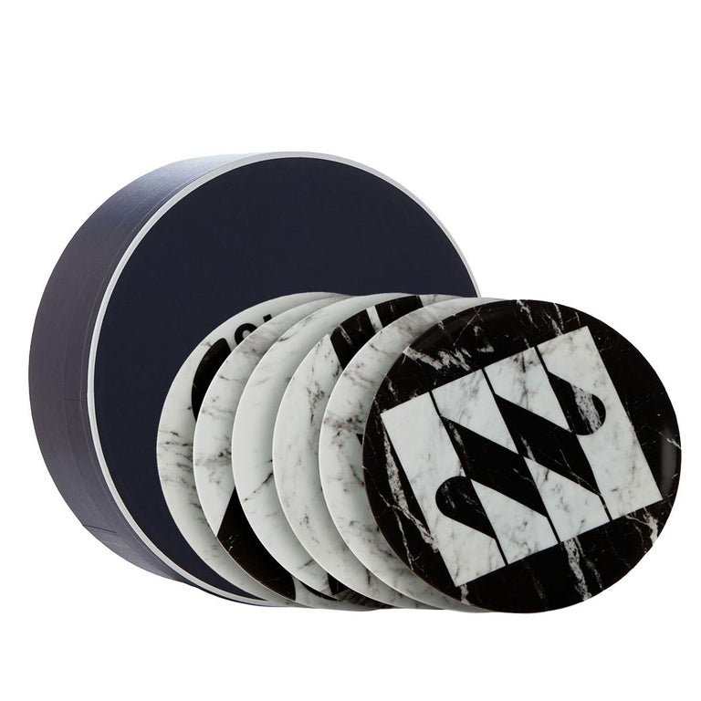Modern Set of Six Porcelain Plates in Black and White by Etienne Bardelli For Sale