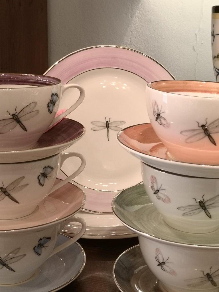 Modern Set of Six Porcelain Tea Cups Butterfly Decor Sofina Boutique Kitzbuehel For Sale 4