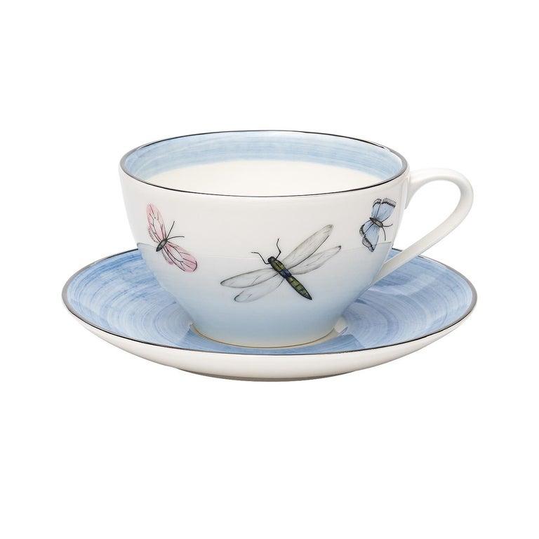 German Modern Set of Six Porcelain Tea Cups Butterfly Decor Sofina Boutique Kitzbuehel For Sale