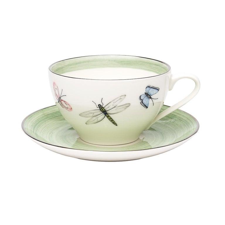 Hand-Painted Modern Set of Six Porcelain Tea Cups Butterfly Decor Sofina Boutique Kitzbuehel For Sale