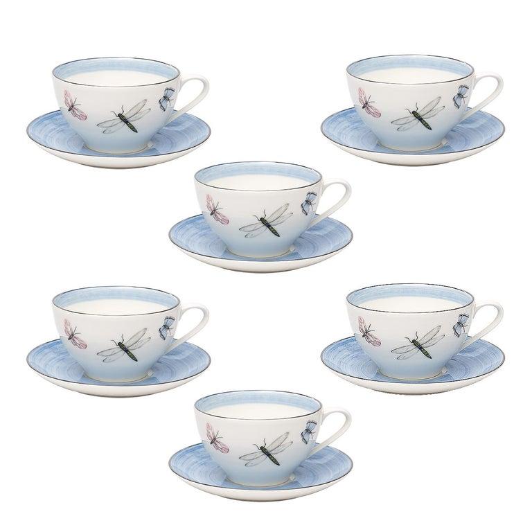 Modern Set of Six Porcelain Tea Cups Butterfly Decor Sofina Boutique Kitzbuehel For Sale 1