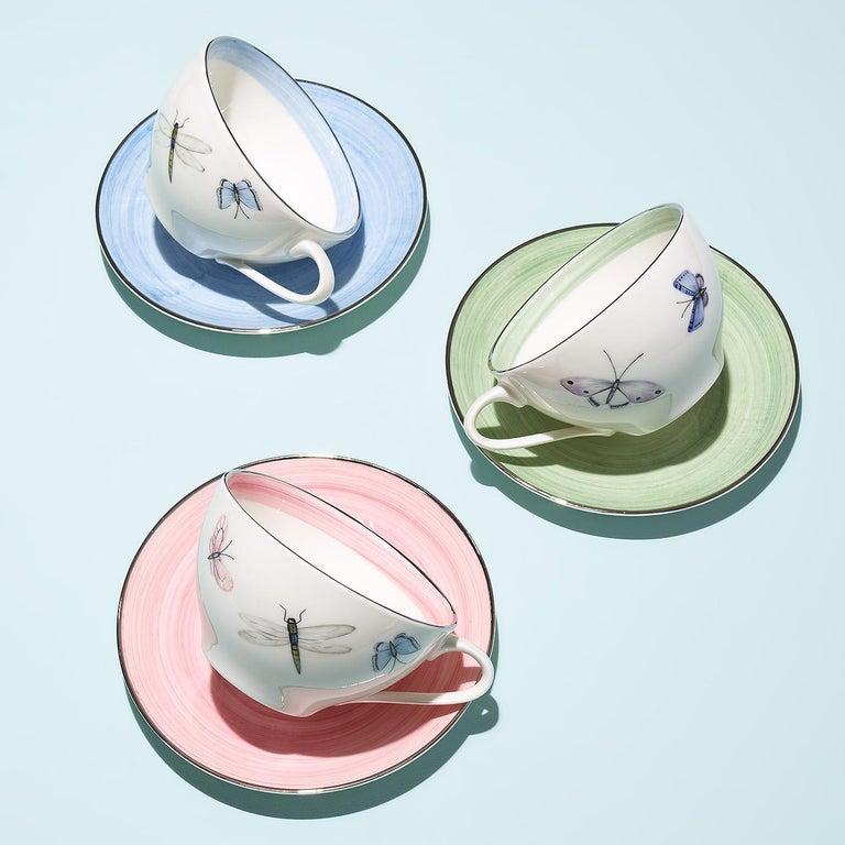 Modern Set of Six Porcelain Tea Cups Butterfly Decor Sofina Boutique Kitzbuehel For Sale 2