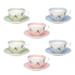 Modern Set of Six Porcelain Tea Cups Butterfly Decor Sofina Boutique Kitzbuehel
