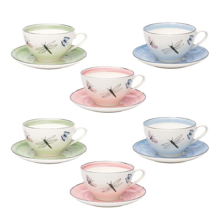 Modern Set of Six Porcelain Tea Cups Butterfly Decor Sofina Boutique Kitzbuehel For Sale